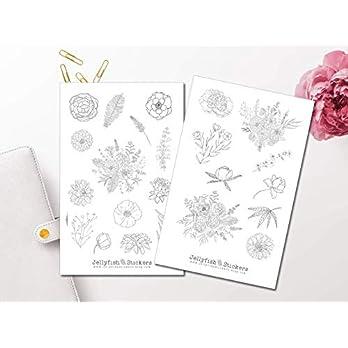 Blumen Sticker Set schwarz weiß | Florale Aufkleber | Journal Sticker | Blumen Sticker | Planersticker | Sticker Floral, Blumenstrauß, Rosen