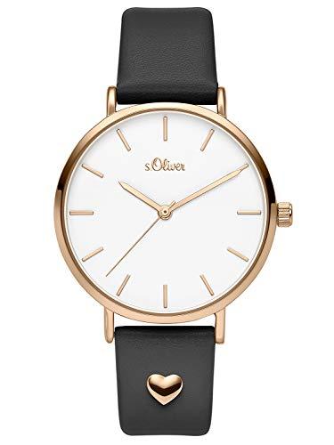 s.Oliver Damen Analog Quarz Uhr mit Leder Armband SO-3746-LQ