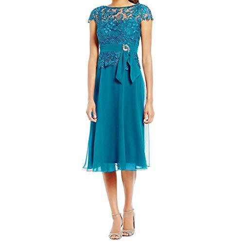 MAYOGO Cocktailkleid Knielang Abschlussball Kleider Damen Solide Spitzen Applique Elegant Abendkleid Ball Kleid Ohne ärmel Cape Sleeve