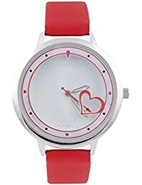 KMS Heart Print Dial Women's Red Analog Watches
