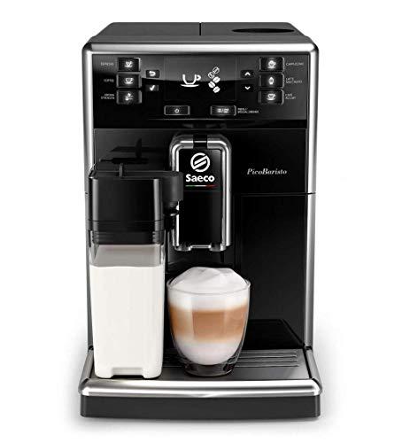 Saeco PicoBaristo SM5460/10 Macchina da Caffè Automatica, con Caffè Americano, 10 Bevande, con Macine in Ceramica, Filtro AquaClean, Caraffa Base Integrata, Nero