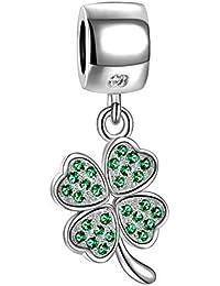 Soufeel Damen-Bead 925 Sterling-Silber Grün Massive Kleeblatt Anhänger Beads Charms