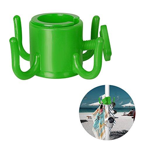 Tagvo gancio a sospensione ombrellone da spiaggia, gancio in ombrello in plastica a 4 fori per appendiabiti / cappelli / vestiti / fotocamera / occhiali da sole / borse - durevole, adatto per la spiaggia, viaggi di campeggio (verde)