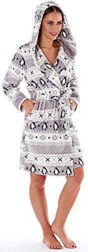 Damen Ultra Weicher Warmer Kuscheliger Winter Langer Dressing Bademantel Grau Mix