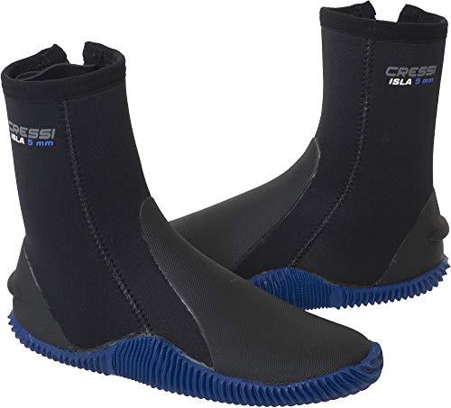 Cressi Isla Boots Neopren Taucherschuhe, Schwarz/Sole Mit Blau Logo, M (5 mm)