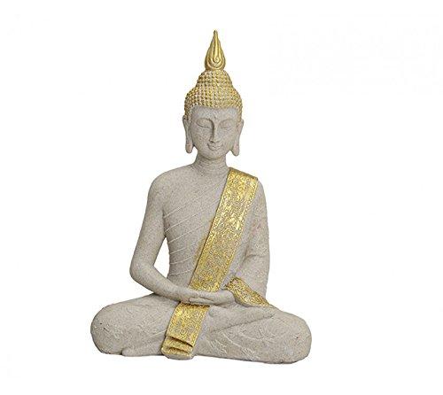 HS86 Buddha Figur Statue Dekofigur Feng Shui Garten Budda Skulptur sitzend groß Gold