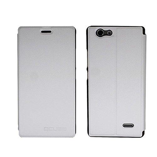 Guran® PU Leder Tasche Etui für Oukitel C4 Smartphone Flip Cover Stand Hülle Case-weiß