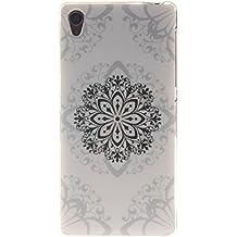 Qiaogle Teléfono Caso - Funda de TPU silicona Carcasa Case Cover para Sony Xperia Z3 (5.3 Pulgadas) - TX40 / Negro Flor