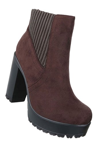 Schuhcity24 Damen Schuhe 17451 Stiefeletten Dunkelbraun 38