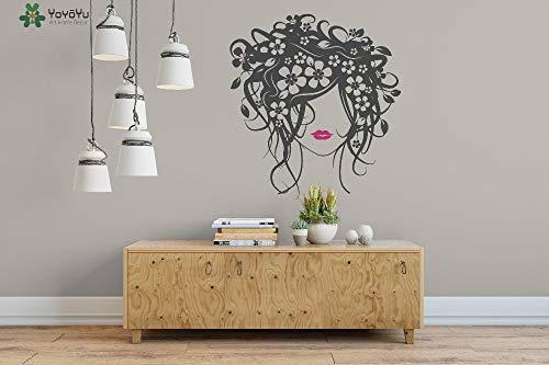 Njuxcnhg Wandtattoo Hohe Qualität Dame Blumenmuster Vinyl Wandaufkleber Nymphe Kunstwand Haarschnitt Barbershop Decor Abnehmbare 42x46 cm