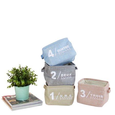 Gentille quatre boîte d'organisateur de tissu de petite taille, de couleur avec des poignées (set of 4)