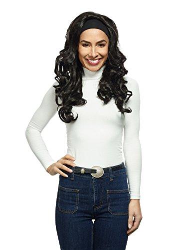 Damen Perücke 'Samira' weibliche Perücke Schwarz m. Haarband lang gelockt aus Kanekalon Kunsthaar (wie Echthaar) geringes Eigengewicht, waschbar, atmungsaktiv, Kopfumfang verstellbar