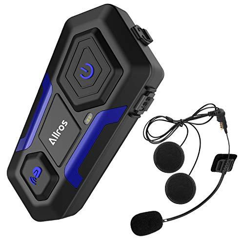ALLROS-Interfono Bluetooth per Moto, Moto Auricolare impermeabile,Casco Interfono per moto fino a 3 Riders, compatibile con Cancellazione del Rumo