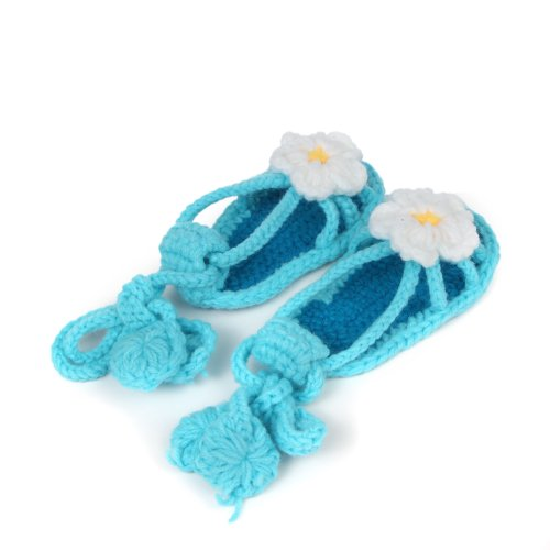 Yue Lian Baby Mädchen Knit Schuhe Handgemachte Strickschuhe mit Weiß Blume Lauflernschuhe Anti-Rutsch-Sohle Blau
