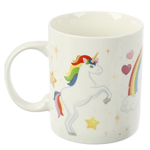 Puckator MUG275 Mug en Porcelaine Tendre Licorne Arc-en-Ciel, Blanc, Rouge, Vert, Jaune, 12 x 8,5 x 9,5 cm