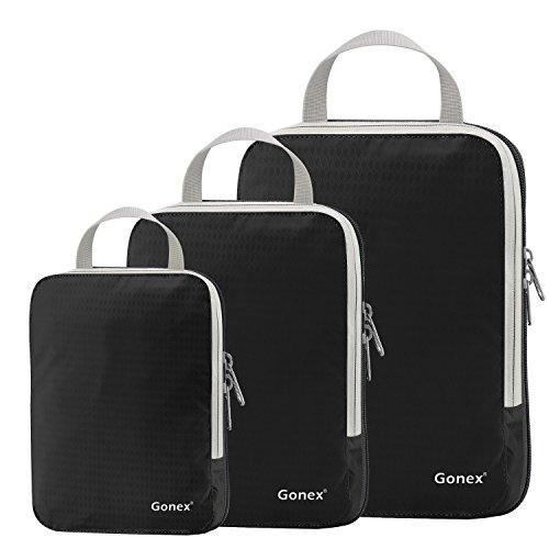 Gonex - 3 Packs Organizador Maleta Bolsas Portátiles para Ropa Bolsas Extensibles e Impermeables Organizador de Almacenaje del Tres-tamaño y a Prueba de Polvo Negro