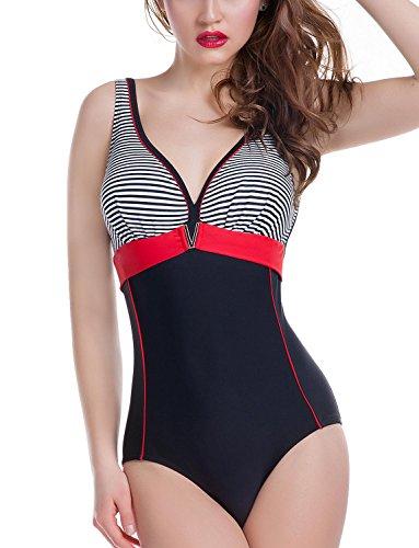 Ewlon Aqua Badeanzug Dame Bademode Triangel Soft regulierbar gestreift V-Ausschnitt EU, Größe 36, schwarz-rot - Zustand V-ausschnitt