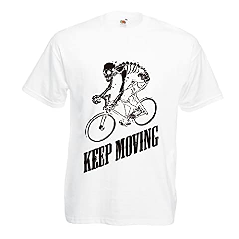 T shirts for men Motivational Quotes - The life is like riding a bicycle. To keep your balance, you must keep moving. (Large White Multi