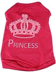Vêtements de couronne de chiens Elyseesen Mode chien mignon princesse T-shirt vêtements veste manteau été Puggy Costume de chat