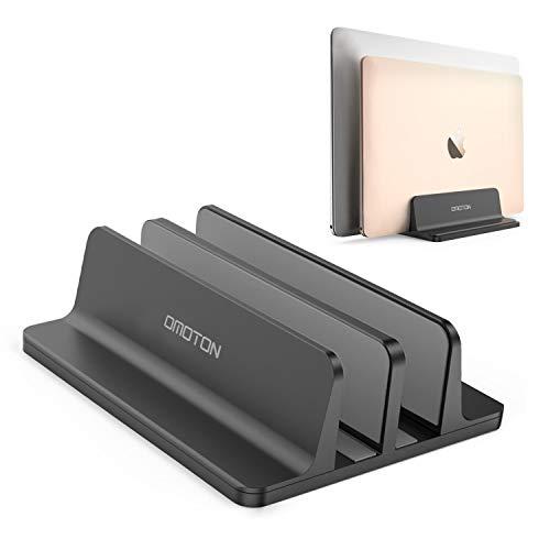 [Neuste Version] OMOTON Verstellbarer vertikaler Laptop Ständer, doppelplatzer Ständer für alle Tablet und Notebooks - Perfekt für MacBook, Lenovo und andere, Doppelplatz, Schwarz (Tablet Y Laptop)