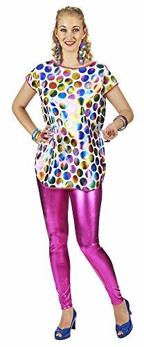 Metallic Longshirt mit bunten Punkten Gr. 36 38 - Wunderschönes Oberteil für Karneval oder (Erwachsene Kostüme Shirt Pailletten)