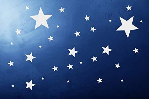 timalo® 50 Stück Selbstklebende Sterne -70016- Fenstedekoration Weihnachten, Fensterbild, Aufkleber, Wandtattoo, Fahrradaufkleber, Autoaufkleber, Schaufenster Sticker Weihnachtssterne (weiß)