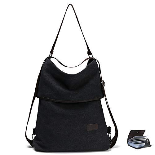 URAQT Canvas Tasche Damen Rucksack Handtasche Damen Umhängentasche Schultertasche Tasche für Alltag Büro Schule Ausflug Einkauf - Schwarz -