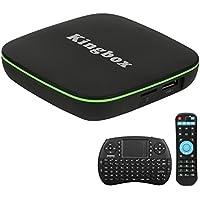 Kingbox- [2018 Dernière Version] K1 Android 7.1 TV Box 1 Go de RAM + 8 Go de ROM Boîtier TV Android Supporte Android 7.1/Bluetooth 4.0/H.265 Penta-Core Smart TV Box avec Mini Clavier sans fil