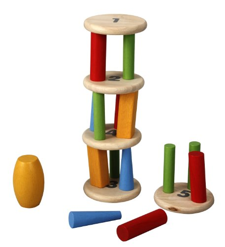 Imagen principal de Plan Toys 1354121 - Torre apilable de madera para derribar