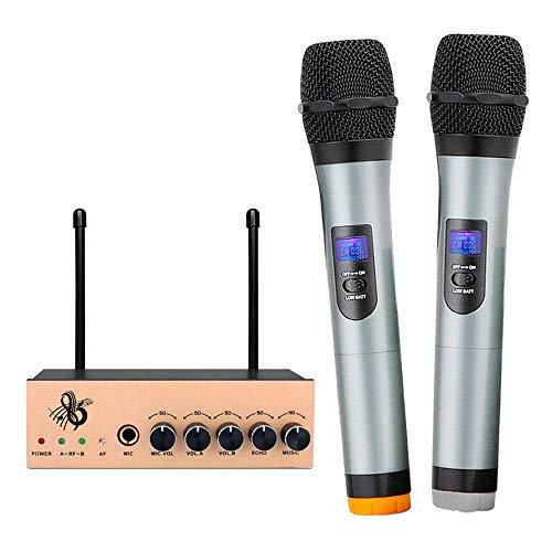 VHF Funkmikrofon Set Wireless Mikrofon System Bluetooth Karaoke Anlage Mikrofon Professional Kabelloses Dual 2 Handmikrofon mit Dynamischen LCD Display für KTV Party Konferenz Konzerte Hochzeit (Gold)