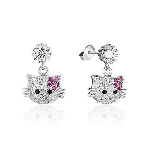 VOGUEA Damen-Ohrhänger Sterling-Silber 925 rund Brillantschliff Zirkonia niedliche Katze Gesicht Tropfenohrringe -