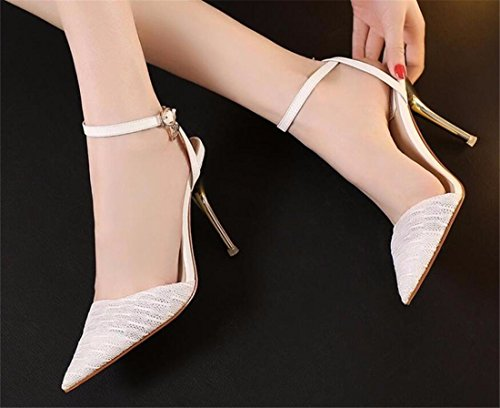 neue Frauen spitze Zehe Absatzschuhe Metallschnalle Stilett Sandale Schuhe Apricot