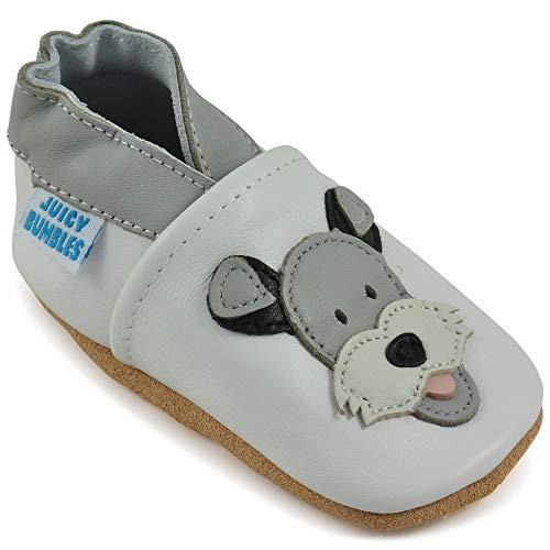 Juicy Bumbles - Weicher Leder Lauflernschuhe Krabbelschuhe Babyhausschuhe mit Wildledersohlen. Junge Mädchen Kleinkind- Gr. 18-24 Monate (Größe 24/25)- Duky Hund