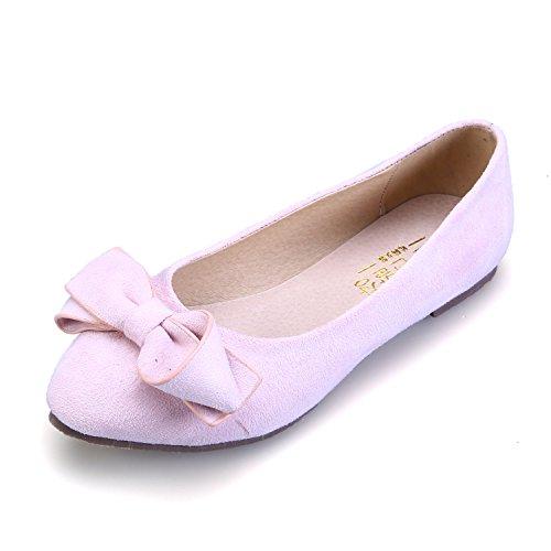 Smilun Damen Ballerina Flach Ballett Schleife Slipper Flats Pink