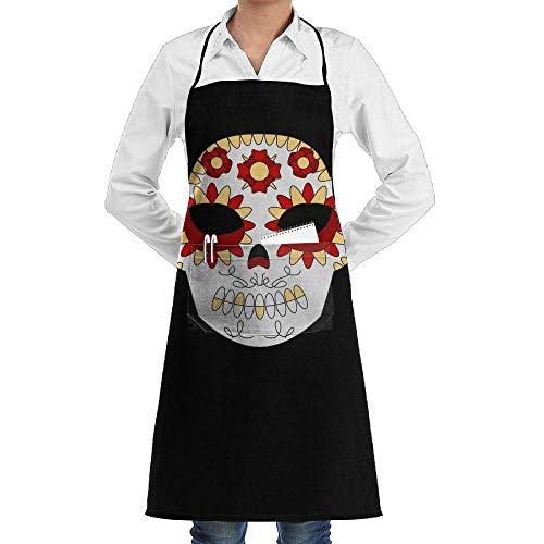 Grill Aprons Kitchen Chef Bib Vintage Floral Sugar Halloween Skeleton Skull Extra Long Adjustable Ties for Cooking,BBQ,Baking Floral Vintage Bib