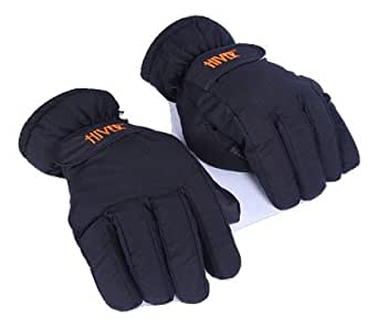 HIVER Unisex Waterproof Teslon Gloves for Snow Rain and Bike Riding (Black, Free Size)