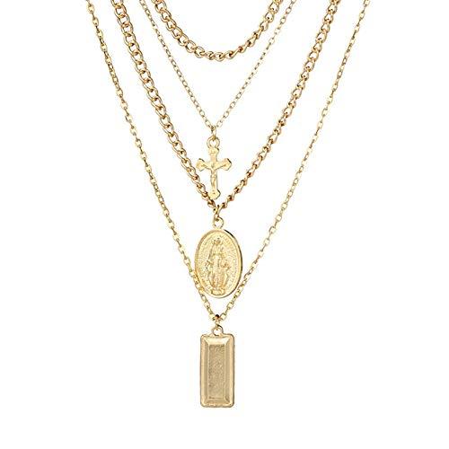 Epinki Vergoldet Damen Halskette Jungfrau Maria Kreuz 4 Schichten Kette Form Anhänger Strand Damenkette Gold ()