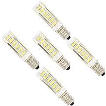 5X E14 Luz LED 7W Bulbo Llevado 76 SMD 2835LEDs Blanco Frío 6500K Super Brillante Iluminación LED Sustitución del Halógeno AC220-240V