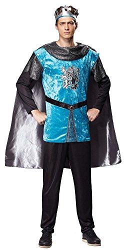 Kostüm Männer/Herren Königlicher Ritter König Prinz mit Krone und Umhang Mittelalter Einheitsgröße M-L