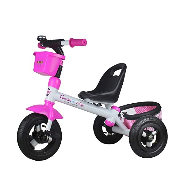 BGHKFF Kids' Trikes 12 Months To 6 Years Kids Tricycle Pleasantly Padded Seat Rear Wheel With Brake Child Trike Maximum Weight 30 Kg,Pink BGHKFF ★Material: High carbon steel frame + Oxford cloth, suitable for children aged 1-6, maximum weight 30 kg ★Safe design: golden triangle structure, safe and stable; rear wheel double brake ★Scientific design features: front and back storage baskets; fenders; plastic handles 1