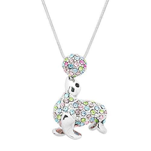 Lola Bella Geschenke Kristall Dichtung und Balancing Ball Anhänger Halskette mit Geschenk-Box -