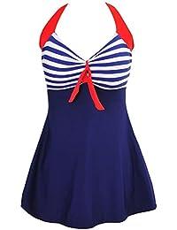 Aidonger Damen Pin-Up Bikini Sets Neckholder Einteilige Bademode mit integriertem Rock EU32-EU46