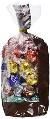 Lindt Lindor Mischbeutel gefüllt mit ca. 48 zartschmelßenden einzeln verpackten Lindor Kugeln in den Sorten Vollmilch, Weiß, Feinherb, Haselnuss, Cocos, Meersalz, 597g