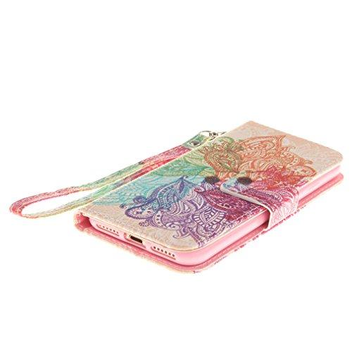 A9H PU Leder Schutzhülle für iPhone 7 case Wallet Schale Tasche Magnet Silikon Back Cover Etui Skin Shell Purse Handyhülle Intarsien Doppelte Schutzschicht & Extrem Hoher Fallschutz Schutzhülle Cover- 10HUA