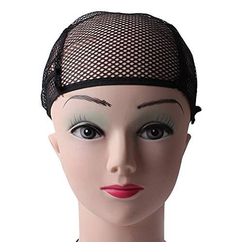2PC Net Wig Caps Testa a rete capa copertura Fishnet parrucca Cap Fine Fine tessitura Stretch regolabile Cap Net Cap (nero)