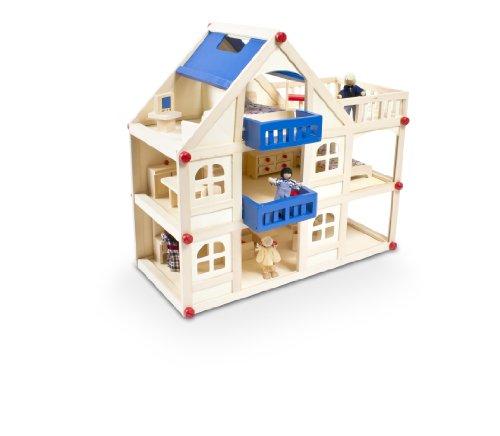 Glow2B Spielwaren 1000008 - Puppenhaus mit 16 Möbeln und 4 Puppen
