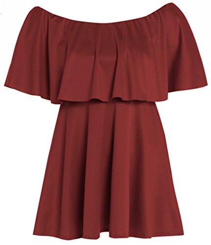 Übergröße Flared Damen Kleid Schößchen, Gr. schulterfrei mit Rüschen Rot - Weinfarben