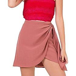 Mujer Faldas Verano Elegantes Algodón Y Lino Falda Cintura Alta Dulce Lindo Chic Irregular Bandage Color Solido Hippie Faldas Cortas Minifalda (Color : Pink, Size : S)