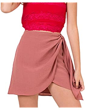 Lannister Fashion Faldas Verano Mujer Elegantes Algodón Y Lino Falda Cintura Alta Asimetricas Irregular Bandage...