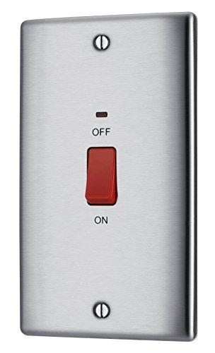 Masterplug NBS72 Schalter mit Doppel-Blende aus gebürstetem Stahl, 2-polig, 45A, mit Neon-Kontrollleuchten (Neon-kontrollleuchte)